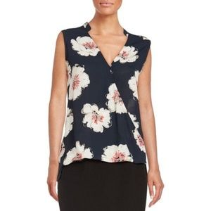 Floral sleeveless navy floral blouse